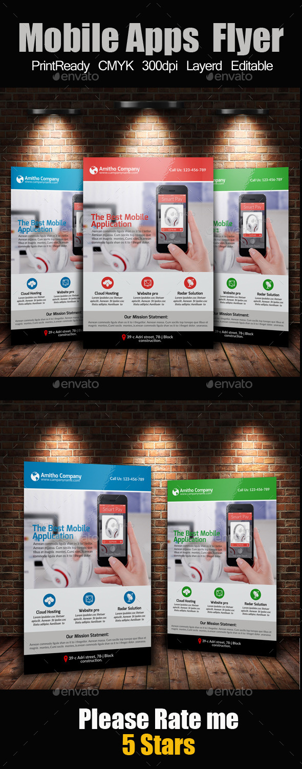 GraphicRiver Mobile Apps Promotion Flyer Template 10635190
