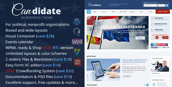 Candidate - Political/Nonprofit Wordpress Theme - Political Nonprofit