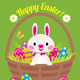 Easter Bunny in a Basket with Easter Eggs - GraphicRiver Item for Sale