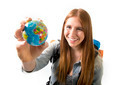 beautiful student girl holding little world globe choosing holidays destination in travel tourism - PhotoDune Item for Sale