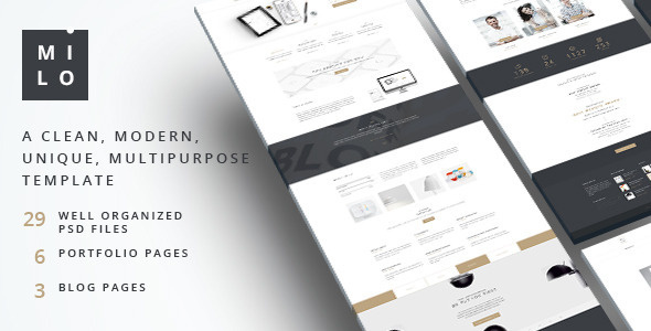 ThemeForest Milo Clean & Modern Multipurpose PSD Template 10544364