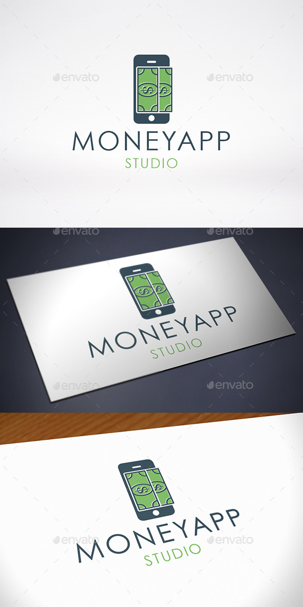 GraphicRiver Money Phone App Logo Template 10636499