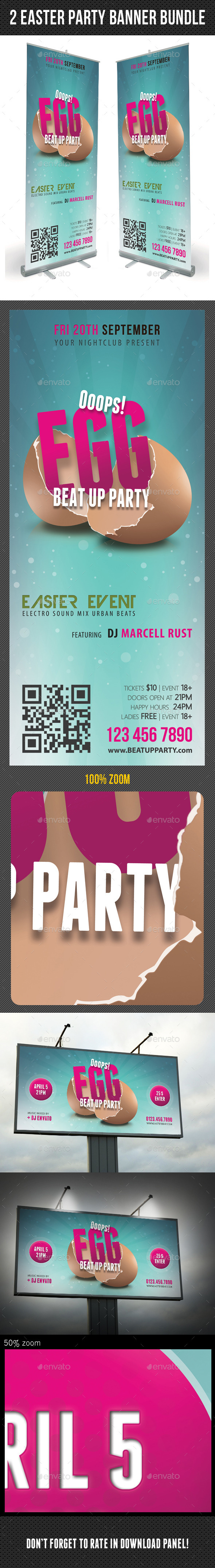 GraphicRiver 2 in 1 Easter Break Up Party Banner Bundle 10636594