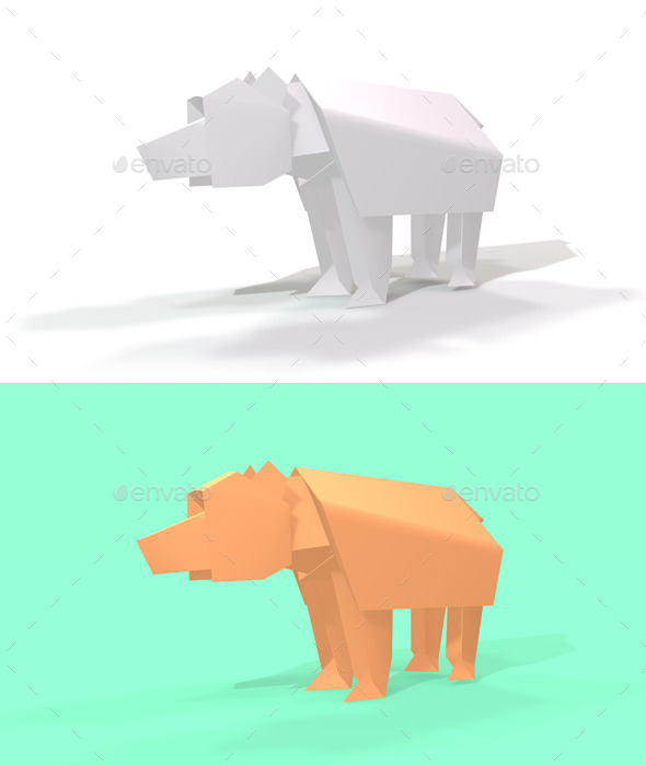 GraphicRiver Polygon Origami Bear 10636602