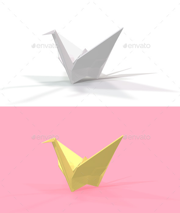GraphicRiver Polygon Origami Crane 10636635