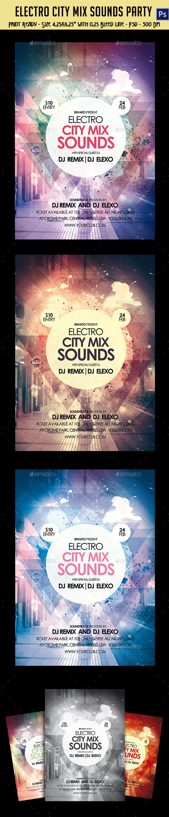 GraphicRiver Electro City Mix Sounds Party Flyer 10636638