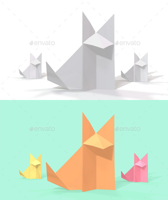GraphicRiver Polygon Origami Fox 10636642