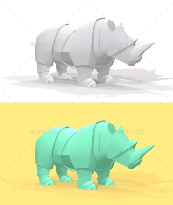 GraphicRiver Polygon Origami Rhino 10636684