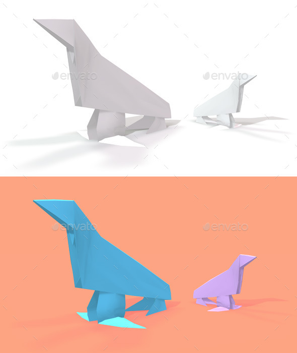GraphicRiver Polygon Origami Sea Lion 10636688