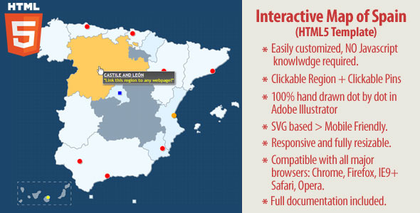 Interactive Map of Spain - HTML5