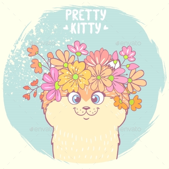 GraphicRiver Kitten with Flowers 10637216