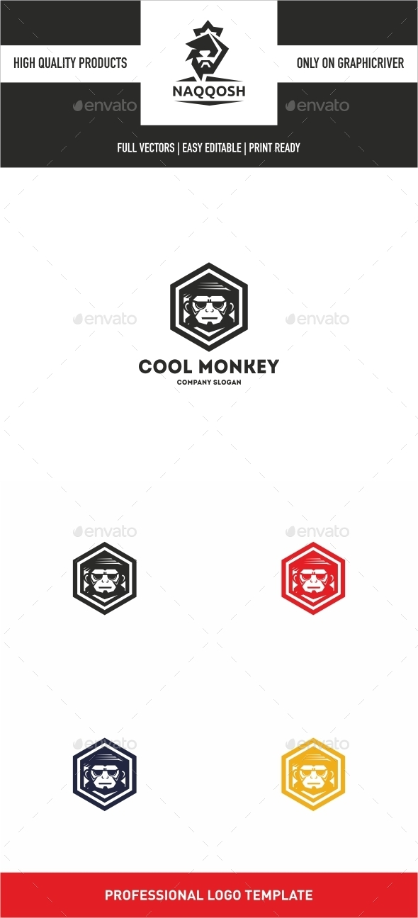 GraphicRiver Cool Monkey Logo 10637743