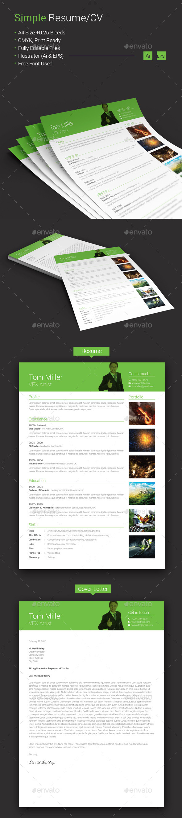 GraphicRiver Simple Resume CV 10637869