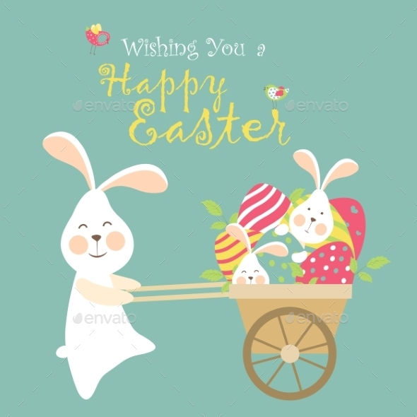 GraphicRiver Easter Bunnies and Easter Eggs 10638012