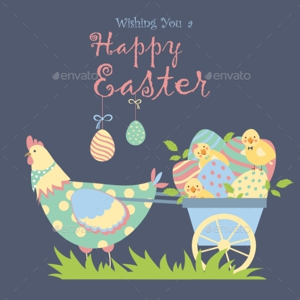 GraphicRiver Easter Chicken with Easter Eggs 10638025