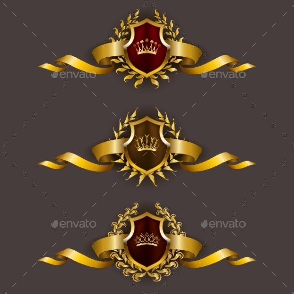 GraphicRiver Golden Shields with Laurel Wreath 10638614