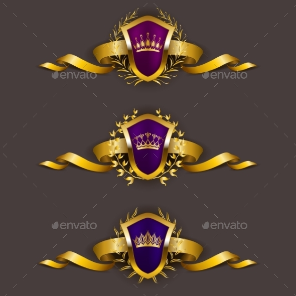 GraphicRiver Golden Shields with Laurel Wreath 10638624