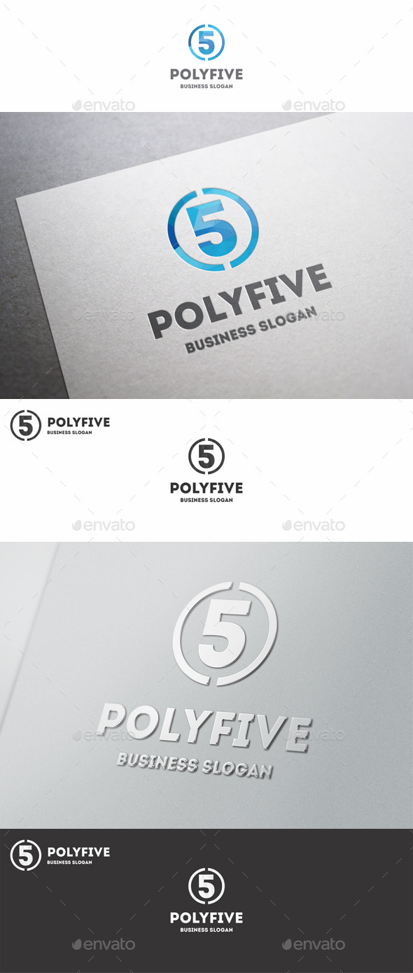 GraphicRiver Five Logo Polygonal Number 10638947
