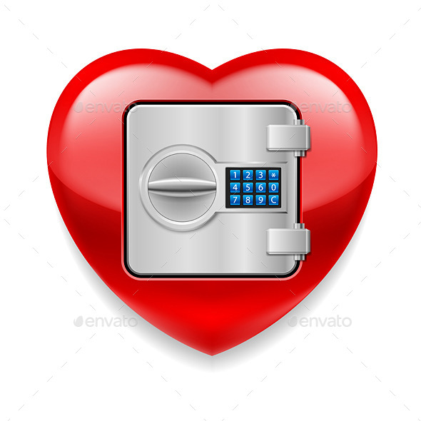 GraphicRiver Shiny Red Heart as a Safe 10639188