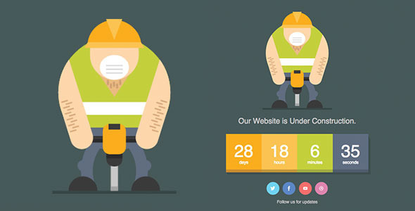 ThemeForest Jackhammer Animated SVG Under Construction Page 10534038