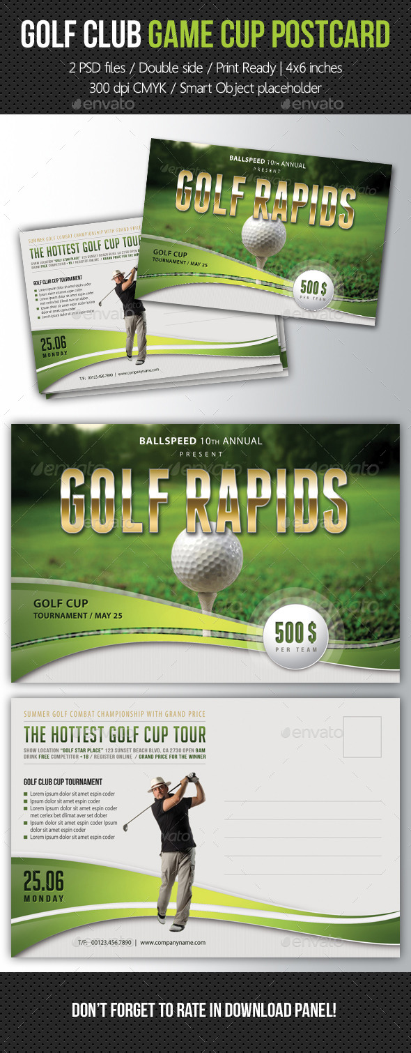 GraphicRiver Golf Club Game Cup Postcard V01 10639748