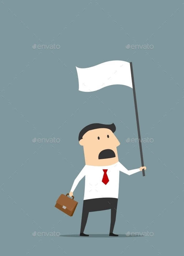 Cartoon Businessman with White Flag
