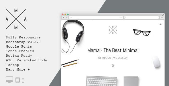 ThemeForest MAMA Creative Minimal Portfolio WordPress Theme 10513016
