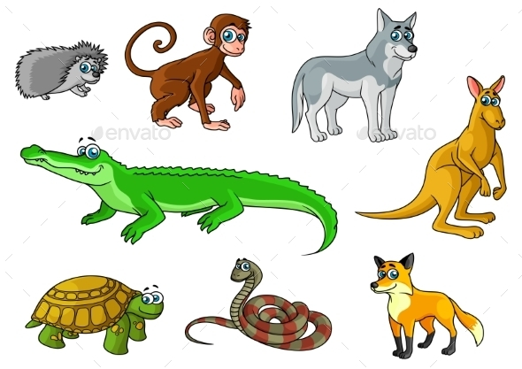 GraphicRiver Cartoon Forest and Jungle Wild Animals 10640299