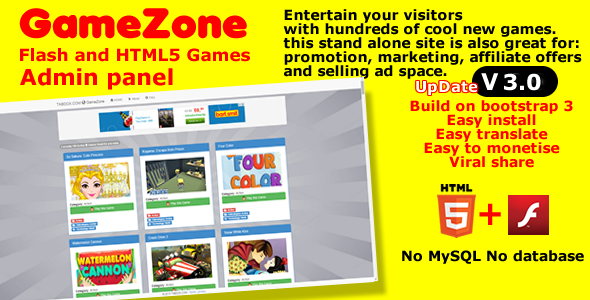 GameZone Flash and HTML5 stand alone game site