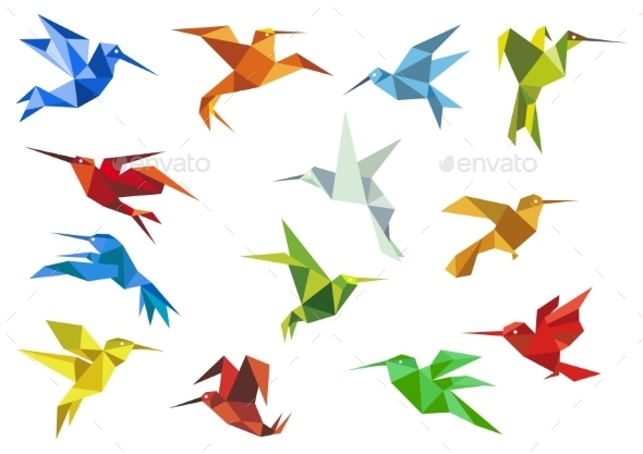 GraphicRiver Abstract Origami Hummingbirds 10640631