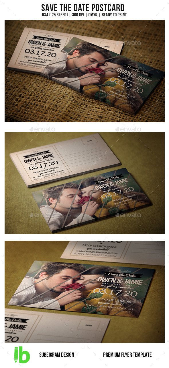GraphicRiver Save The Date Postcard 10547787