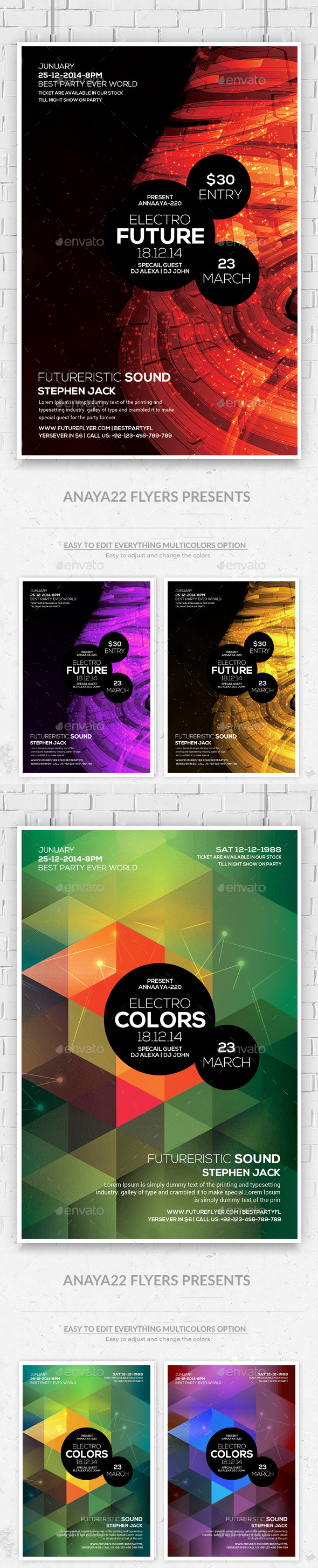 GraphicRiver Minimal Abstract Futuristic Psd Flyers Bundle 10641029
