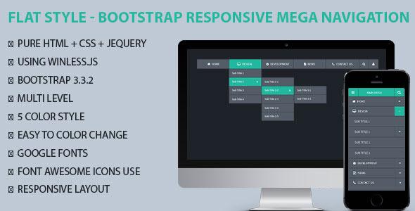 CodeCanyon Flat Style Bootstrap Responsive Mega Navigation 10619636
