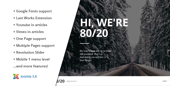 ThemeForest 80 20 Responsive Joomla One-Page Template 10641482