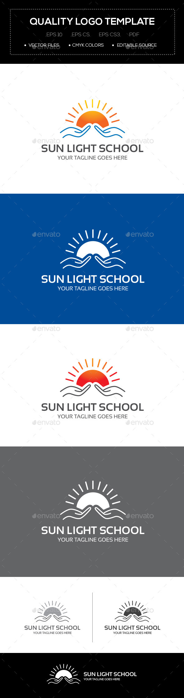GraphicRiver Sun Light School Logo Template 10641516