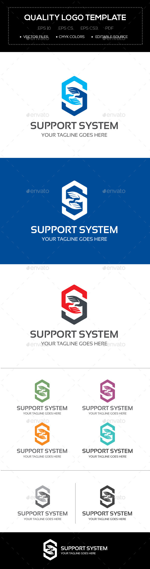 GraphicRiver Support System Logo Template 10641569