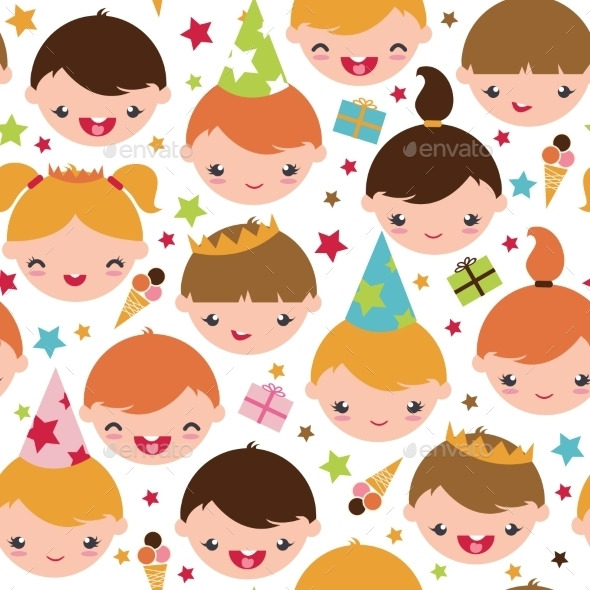 GraphicRiver Kids at a Birthday Party Seamless Pattern 10641591