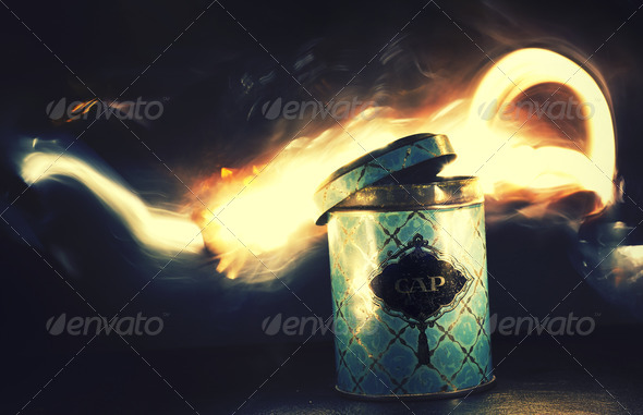 Long Exposure Magic Can With Fire Effect - Stock Photo - Images