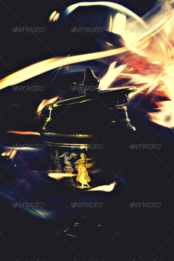 Greek Ornament Surrounded By Magic Flames  - Stock Photo - Images