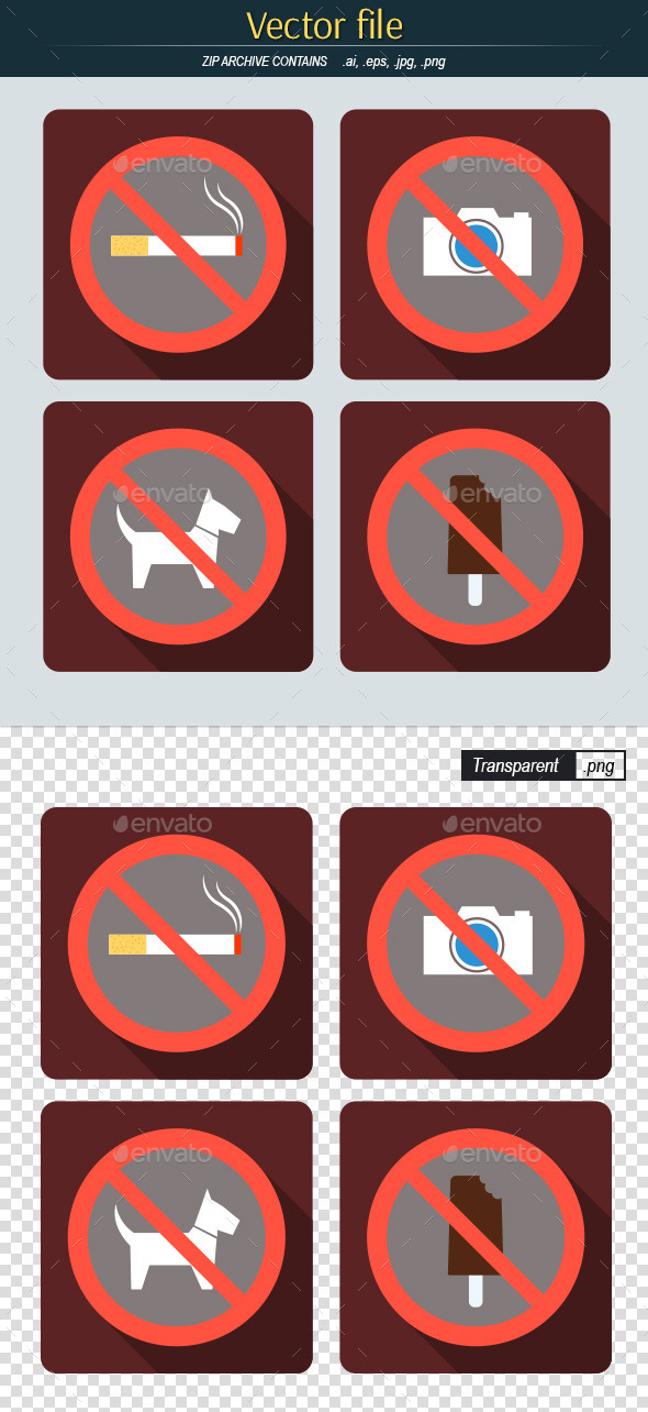 GraphicRiver Set of Signs Prohibiting 10641692