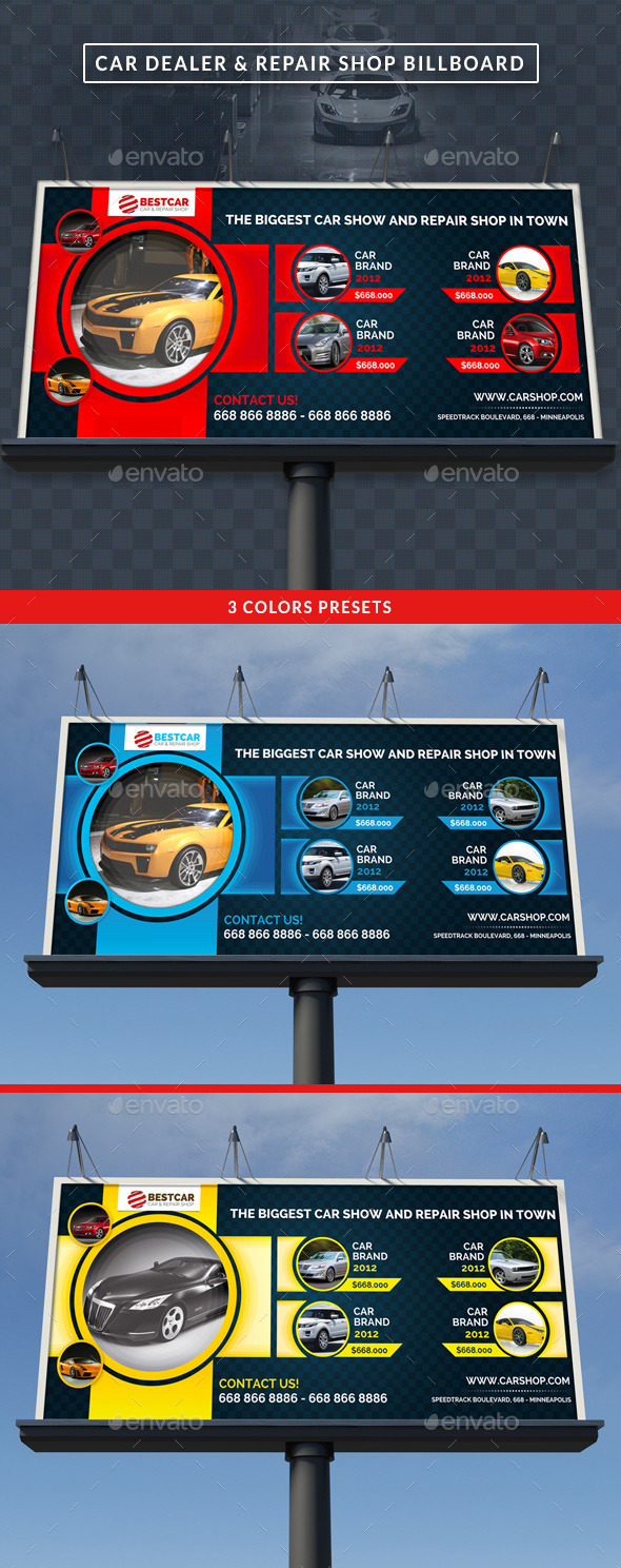 GraphicRiver Car Dealer & Auto Services Signage Billboard 10510817