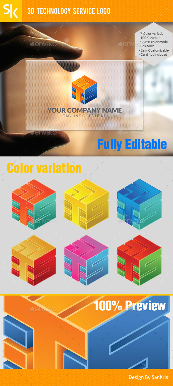 GraphicRiver 3D Technology Service Logo 10642497