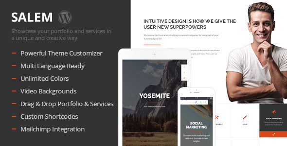 ThemeForest Salem Clean and Bold One Page Wordpress Theme 10329778