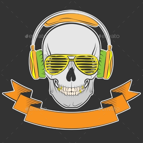 GraphicRiver Skull with Headphones and Sunglasses 10642603