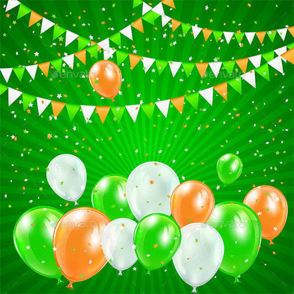 GraphicRiver Patricks Day Balloons and Confetti 10642625