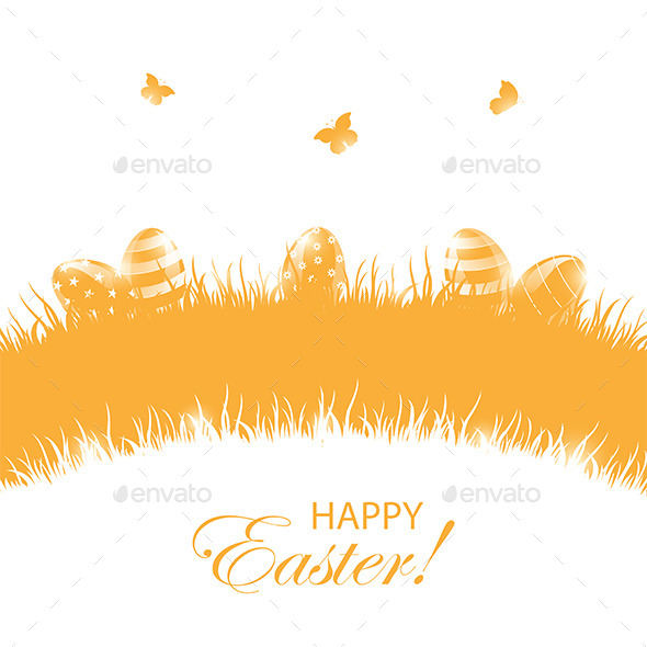 GraphicRiver Orange Background with Easter Eggs 10642643