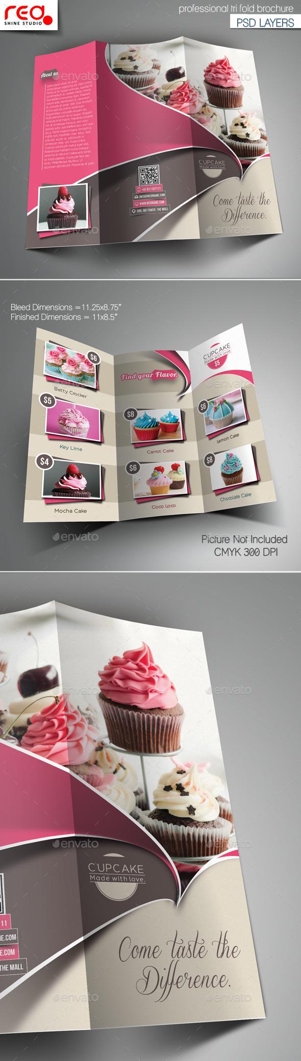 GraphicRiver Cupcake Trifold Brochure Template 10642713