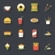 Retro Flat Fast Food Icons and Symbols Set Vector  - GraphicRiver Item for Sale