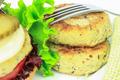 Vegan sea burger patties closeup on white background - PhotoDune Item for Sale
