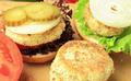 Vegan sea burger and patties closeup on wooden surface - PhotoDune Item for Sale